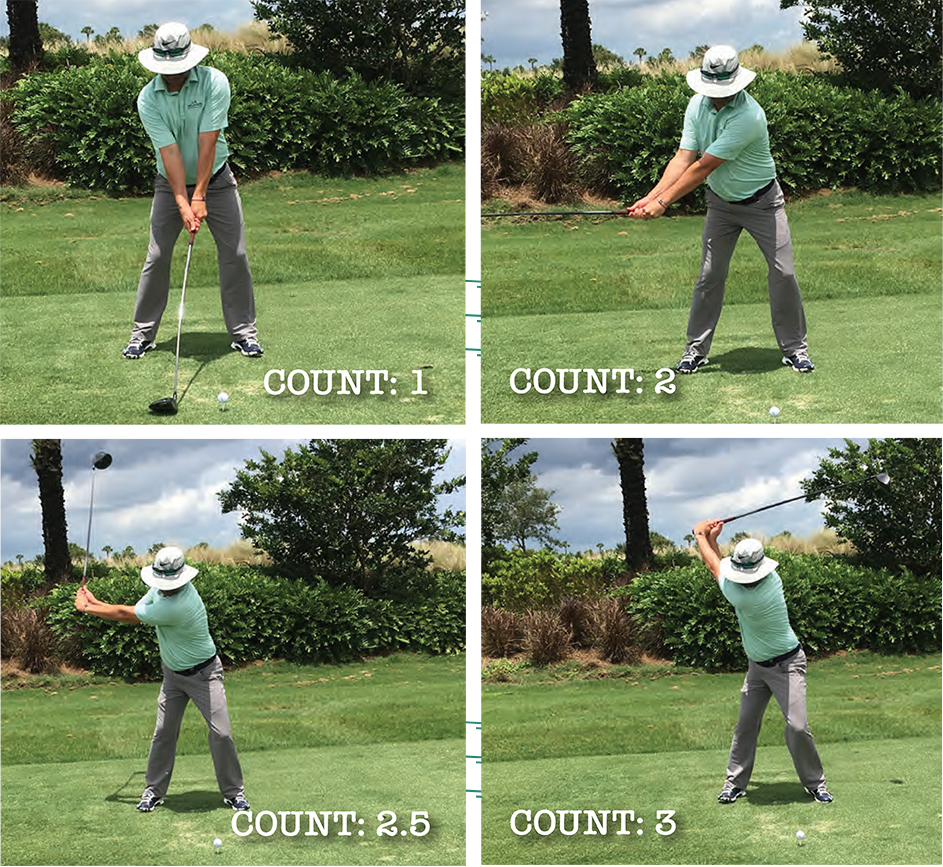 The first three counts of the golf waltz
