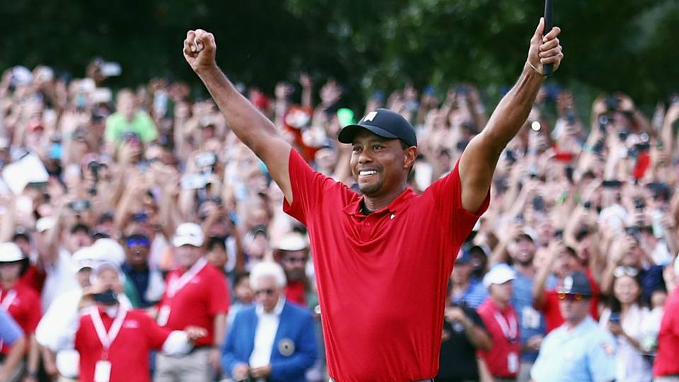 Tiger right after he won the Tour Championship