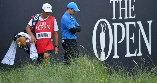 Rory McIlroy struggling at THE OPEN on Thursday
